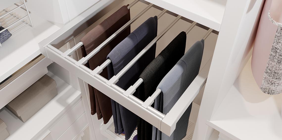 Garderoba ELITE biala wieszak na spodnie