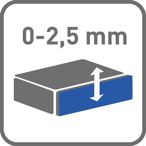 Regulacja pionowa [mm]: 0-2,5