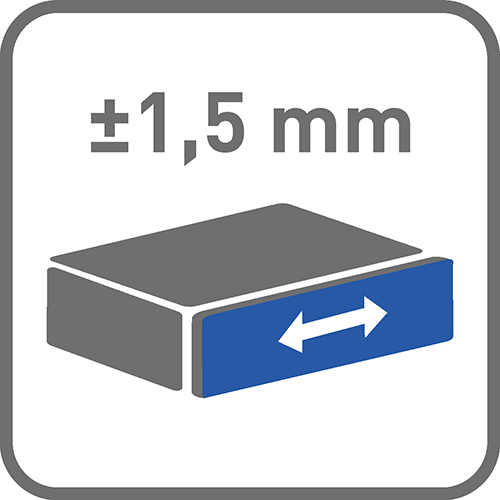 Regulacja pozioma [mm]: +-1,5