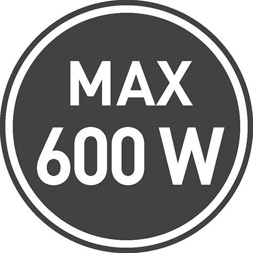 Maksymalne dopuszczalne obciążenie [W]: 600
