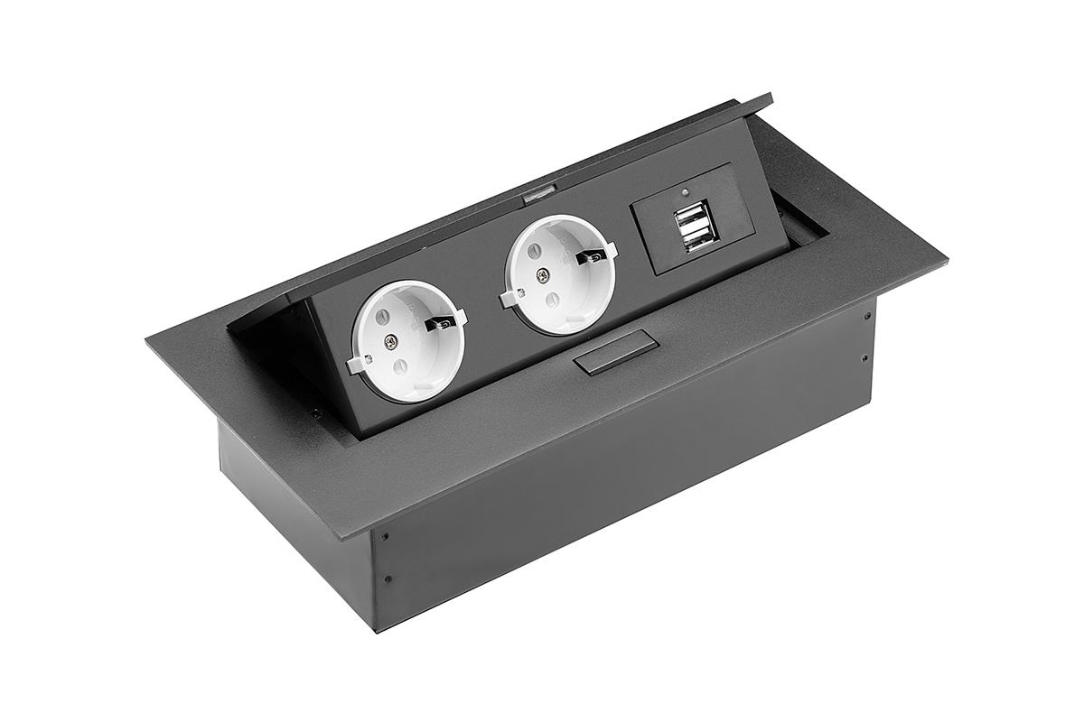 Przedłużacz biurkowy wpuszczany prostokątny (gniazdo Schuko) - 2