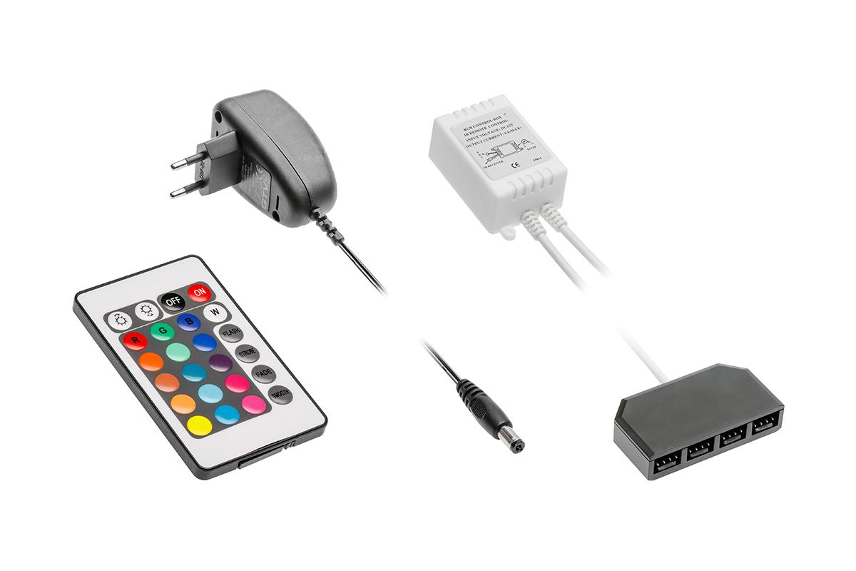Zestaw RGB - kontroler, zasilacz LED 6W, pilot i dystrybutor - 1
