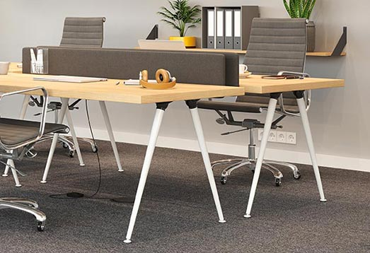 The X-LINE classic white slanting leg is perfect for modern office spaces. We recommend it especially for light wood table tops.